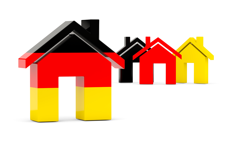 Huis met de Duitse vlag en drie huizen in de kleur van de Duitse vlag met hypotheek